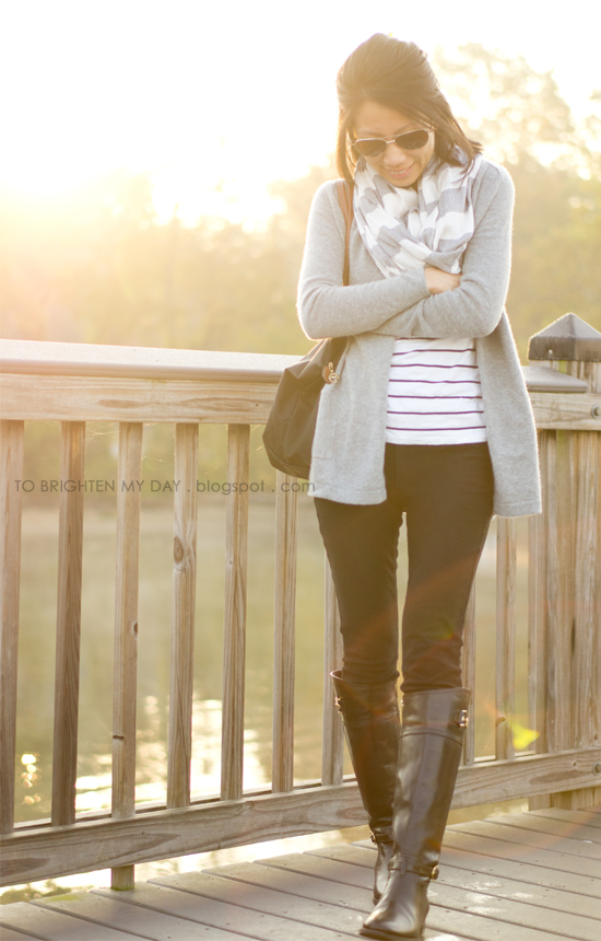 striped scarf, open cardigan, striped top, black riding boots