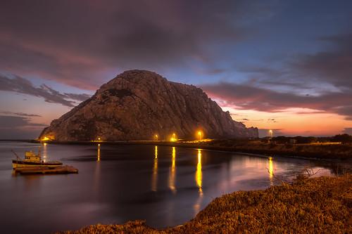 california sunset sky night clouds lights boat unitedstates cloudy morrobay centralcoast morrorock hdr photomatix