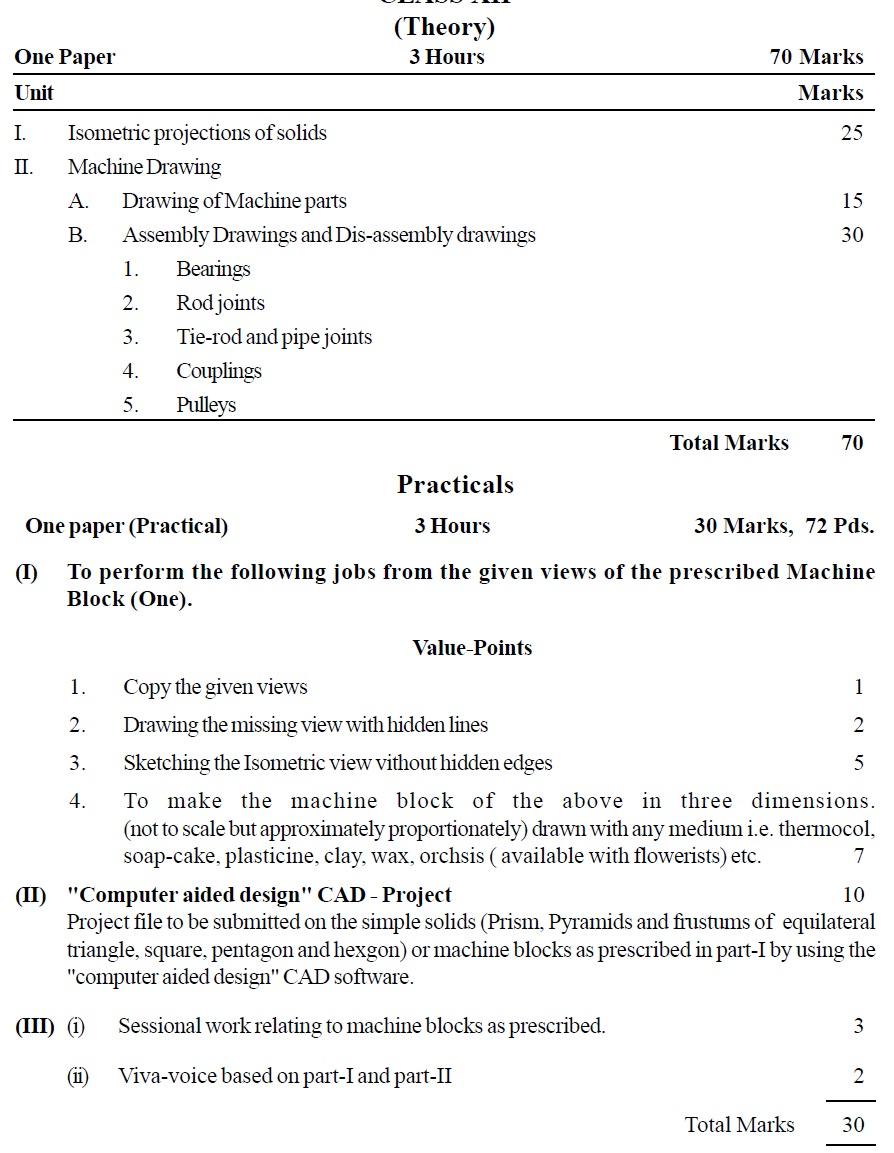CBSE Class XII Marking Scheme 2014 Engineering Graphics