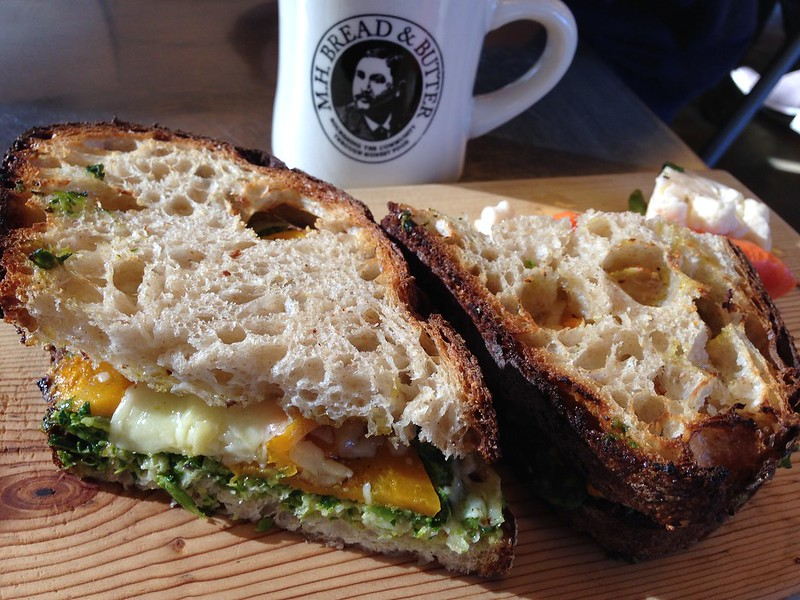 Roasted butternut squash and pesto sandwich