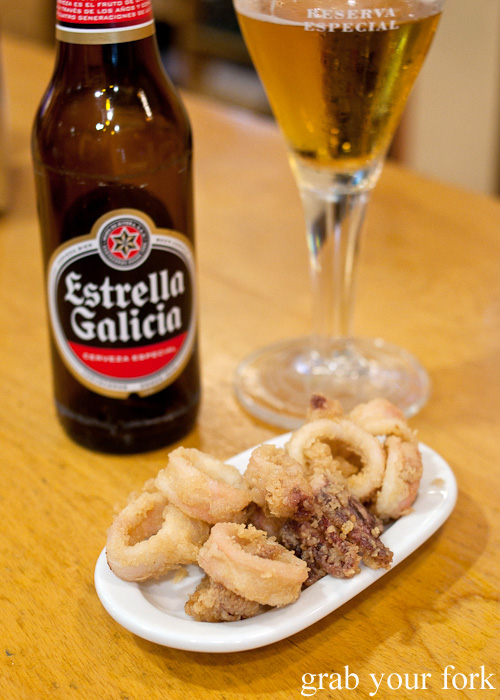 Calamares fried calamar with Estrella Galicia at Cerveceria El Real in A Coruna, Galicia, Spain