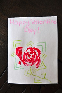 Valentine's DAy Celery Rose Print Card