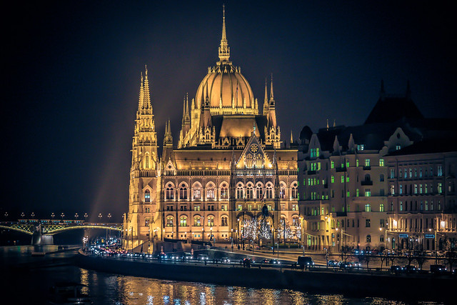 The Parliament at night