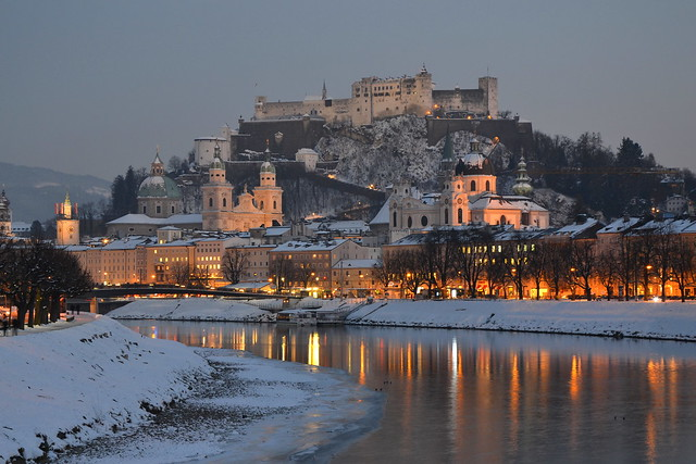 Salzburg and the Salzach on a winter evening