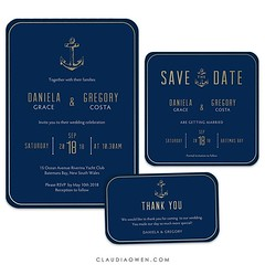 Elegant and sophisticated wedding suite inspired by the sea. The invitation features a golden anchor and beautiful typography. This would be the perfect invitation for your nautical themed wedding #wedding #gettingmarried #engaged