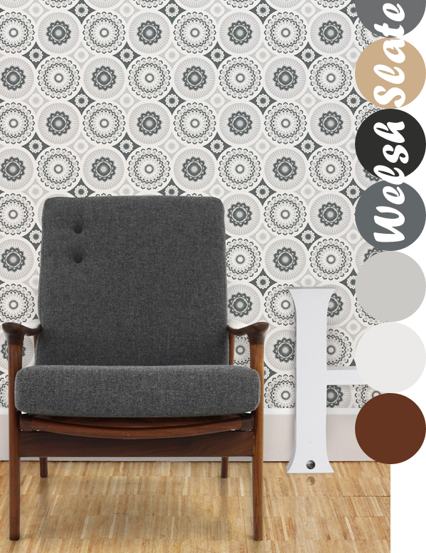 Mini Moderns, Darjeeling Wallpaper in Welsh Slate | Emma Lamb