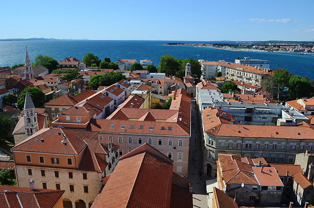 Zadar old city seen from tower of St Anastasia Cathedral