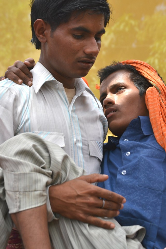 A picture of boys in India carrying out a play