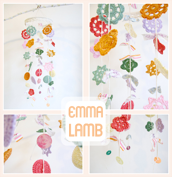Custom colourway of my medium Merry Mobile design : vintage brights and pretty pastels | Emma Lamb