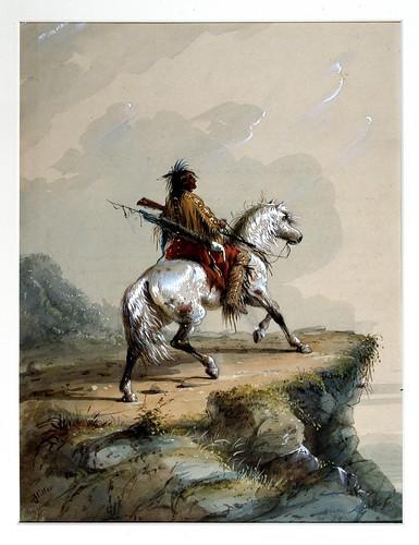 005-Indio Crow de centinela-Alfred Jacob Miller-1858-1860-Walters Art Museum