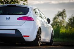 race car(0.0), family car(0.0), seat altea(0.0), sedan(0.0), automobile(1.0), automotive exterior(1.0), wheel(1.0), vehicle(1.0), automotive design(1.0), compact car(1.0), bumper(1.0), seat leã³n(1.0), land vehicle(1.0), hatchback(1.0),