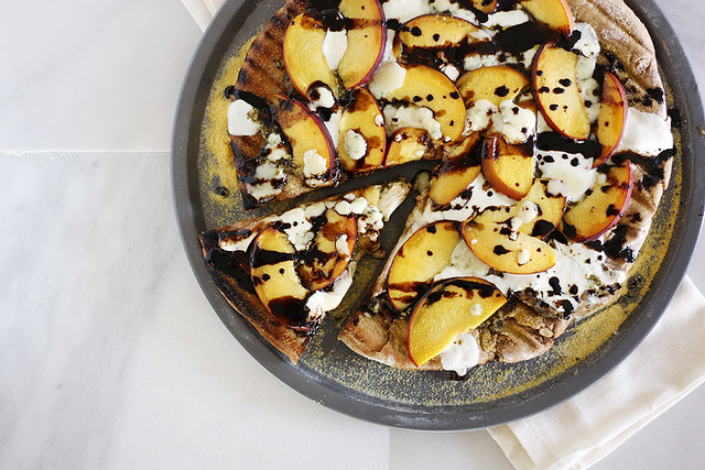 peach + gorgonzola grilled pizza