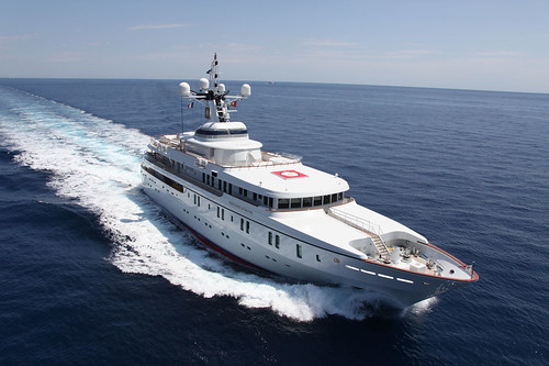 An aerial view of the White Rose of Drachs superyacht.