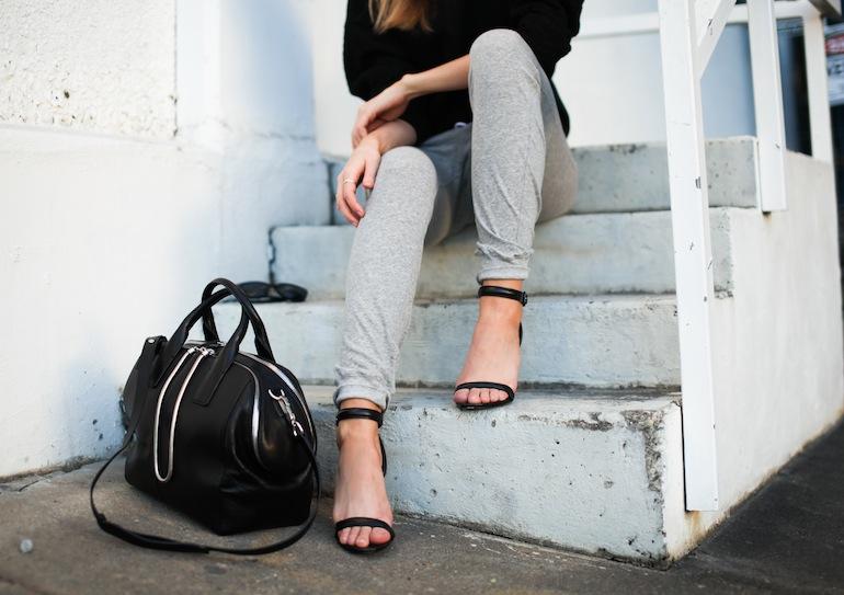 Modern Legacy fashion blog Australia Nicholas sweatshirt Bassike track pants Alexander Wang Jamie Chain Tote Bag Black Antonia heels Celine Audrey sunglasses (1 of 9)