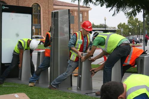 San Jose Diridon Caltrain bike share station installation