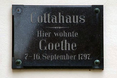 Stone plaque telling that Goethe lived here