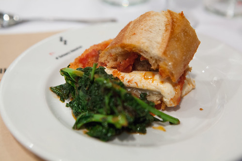 My spicy meatball hero with fresh mozzarella and braised kale
