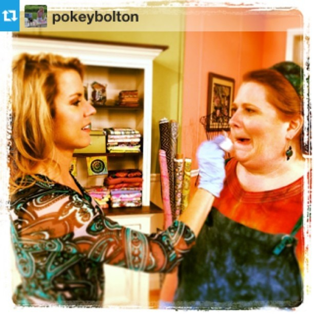 """Makeup is the bane of my existence! I was """"glowing"""" (aka sweating) all day and people were constantly blotting me. Thanks Pokey!! #Repost from @pokeybolton with @repostapp"""