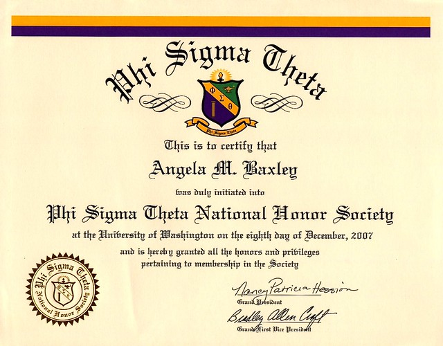 Phi Sigma Theta National Honor Society for Angela M. Baxley, December 2007