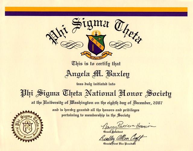 Phi Sigma Theta National Honor Society for Angela M. Baxley, December 2007