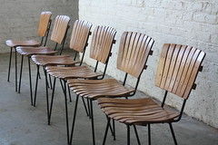 Strutting Arthur Umanoff Mid Century Modern Slatted Wood and Wrought Iron Dining Chairs (U.S.A., 1950's)