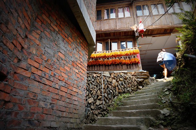 The steep staircases of Ping'An.