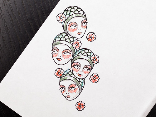 Lady heads tattoo sketch