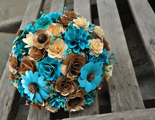 Copper and Robin's Egg Wooden Bouquet