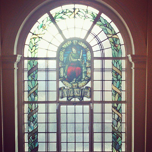 Morris & Co. 1913 stained glass window with an allegory of literature at #Rathmines Library #OpenHouseDublin