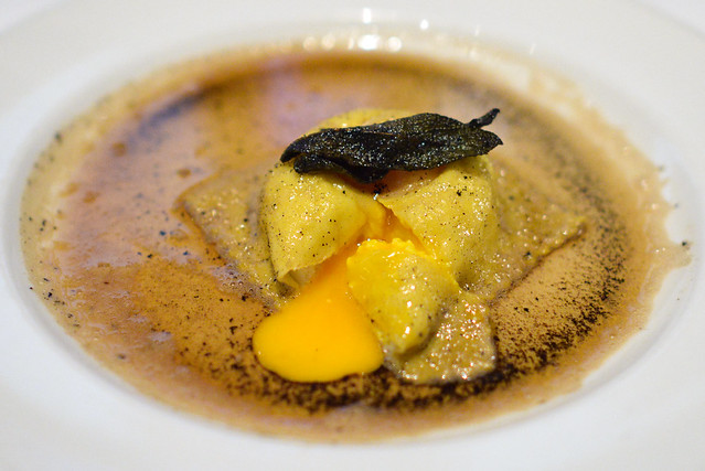 Ricotta & Egg Raviolo with browned butter