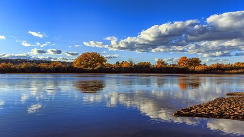 autumn newmexico reflection fall water clouds river landscape albuquerque riogrande