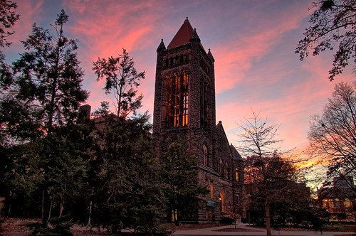 sunset evening hall illinois university uiuc urbana champaign altgeld