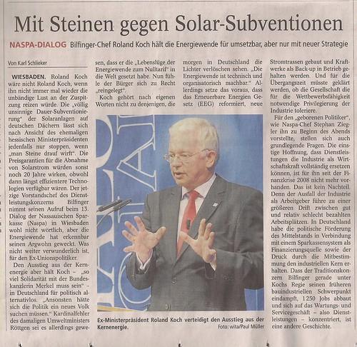 Mit Steinen gegen Solar-Subventionen