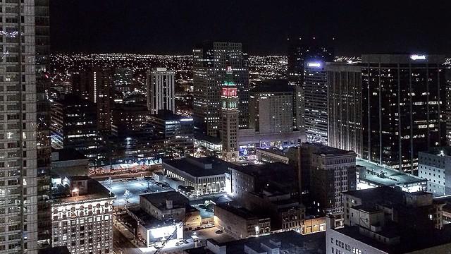Downtown Denver lights at night from the Hyatt Regency - 20131126