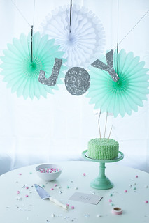 peppermint party with silver fringe letter garland DIY