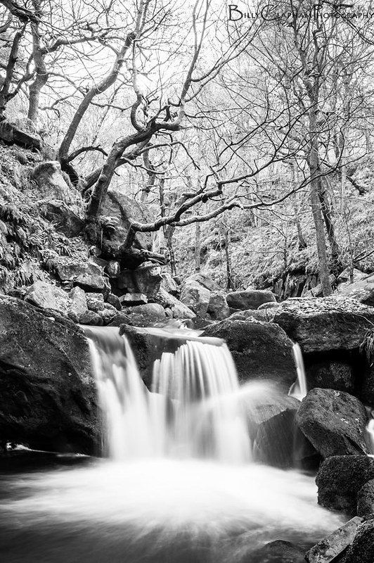 black and white waterfall photography by Billy Clapham, Padley Gorge, Peak disctrict