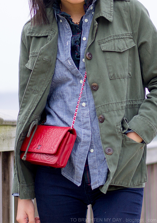 military jacket, chambray + plaid shirts