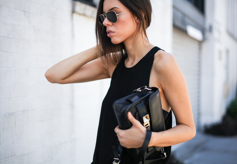 modern legacy fashion style blogger australia all black outfit proenza schouler ps11 mini Acne slouch pants slide sandals celine (2 of 6)