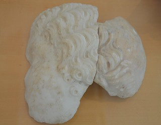 Fragment of the left part of a woman's head, Agrippina the Younger?, Archaeological museum Narona, Vid, Croatia