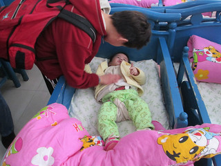 Olivia Rose visiting the orphanage in Fuling.