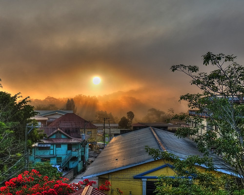 clouds sunrise colorful rooftops belize tropical hdr steamy centralamerica sanignacio