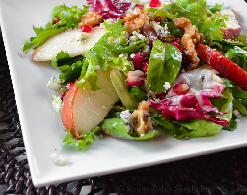 serve salad and sprinkle with pomegranate seeds and walnuts