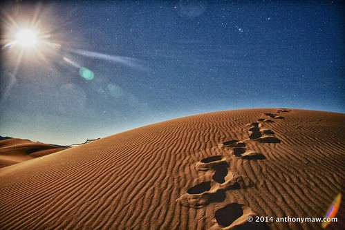 A Winter Full Moon over the Death Valley Sand Dunes
