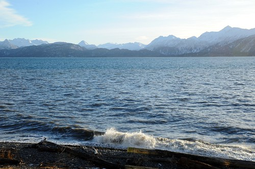 A winter's day, waves crashing, Land's End, Kachemak Bay, Homer, Alaska, USA by Wonderlane
