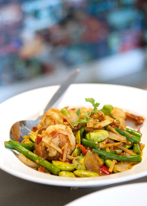 Sa-tar pad goong petai stink beans curry at Rim Tanon Haymarket Chinatown