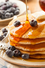 Homemade Buttermilk Pancakes with Blueberries and…