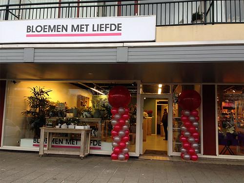 Ballonpilaar Breed Rond Bloemen met Liefde Hendrik Ido Ambacht