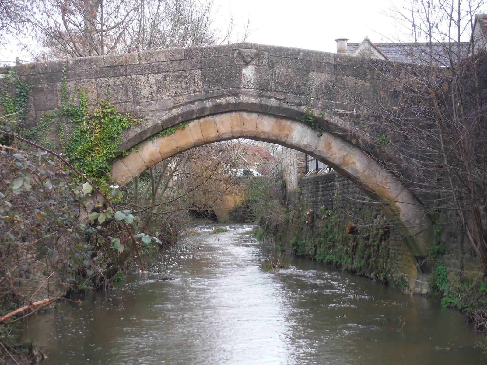 Packhorse Bridge over River Brue, Bruton SWC Walk 284 Bruton Circular (via Hauser & Wirth Somerset) or from Castle Cary