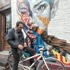 """Foto di depan mural dengan gaya """"ngeliat receh jatuh"""". Oks sip.  #unboxyourphone #galaxyunpacked2017"""