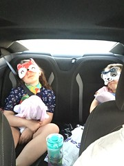 Girls with their new sleep masks. NOT sleeping.